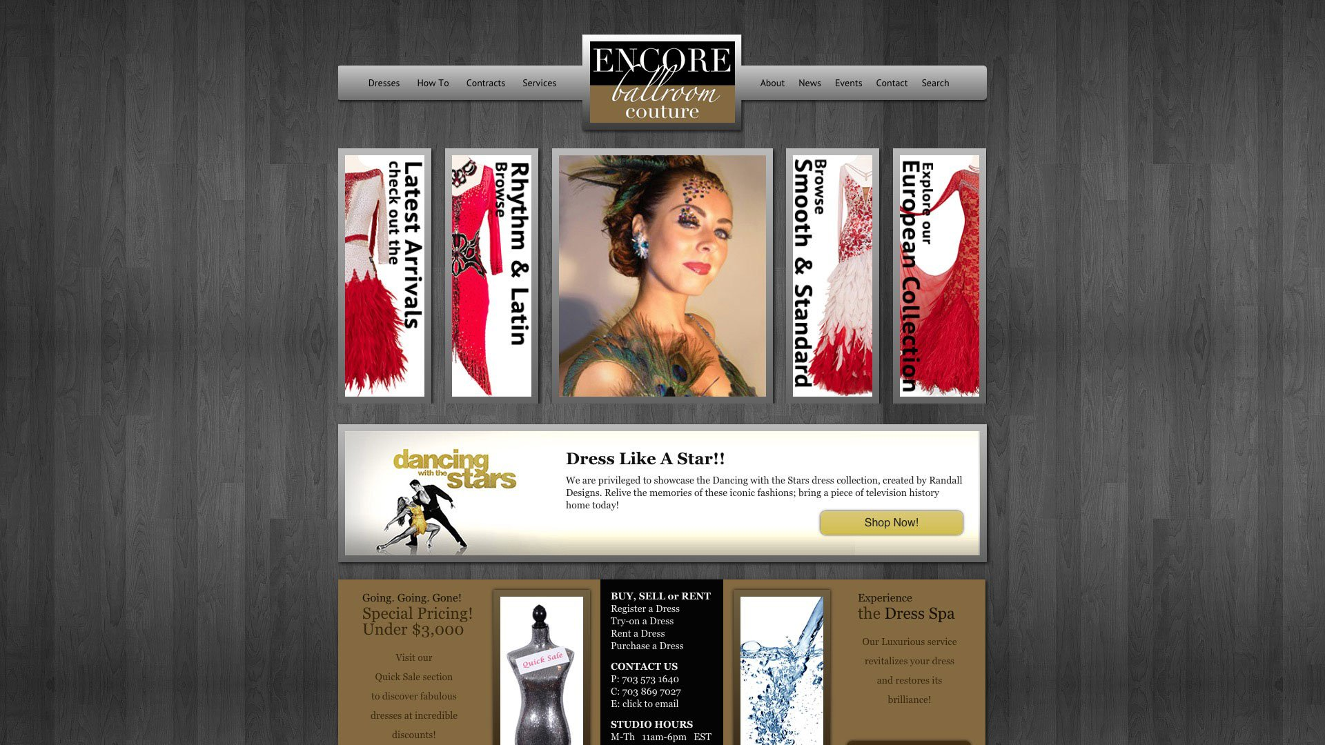 The Main Page Of Encore Ballroom Couture